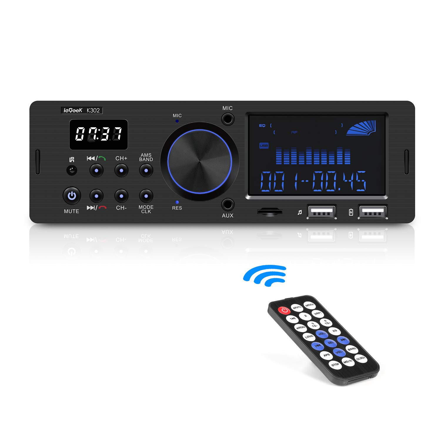 ieGeek Autoradio Bluetooth Main Libre, Double Affichage LCD avec Horloge, Supporte FM/AM/RDS Stéréo Radio de Voiture (30 Stations de Mémoire), Compatible avec USB/AUX in / MP3 / FLAC/SD product image