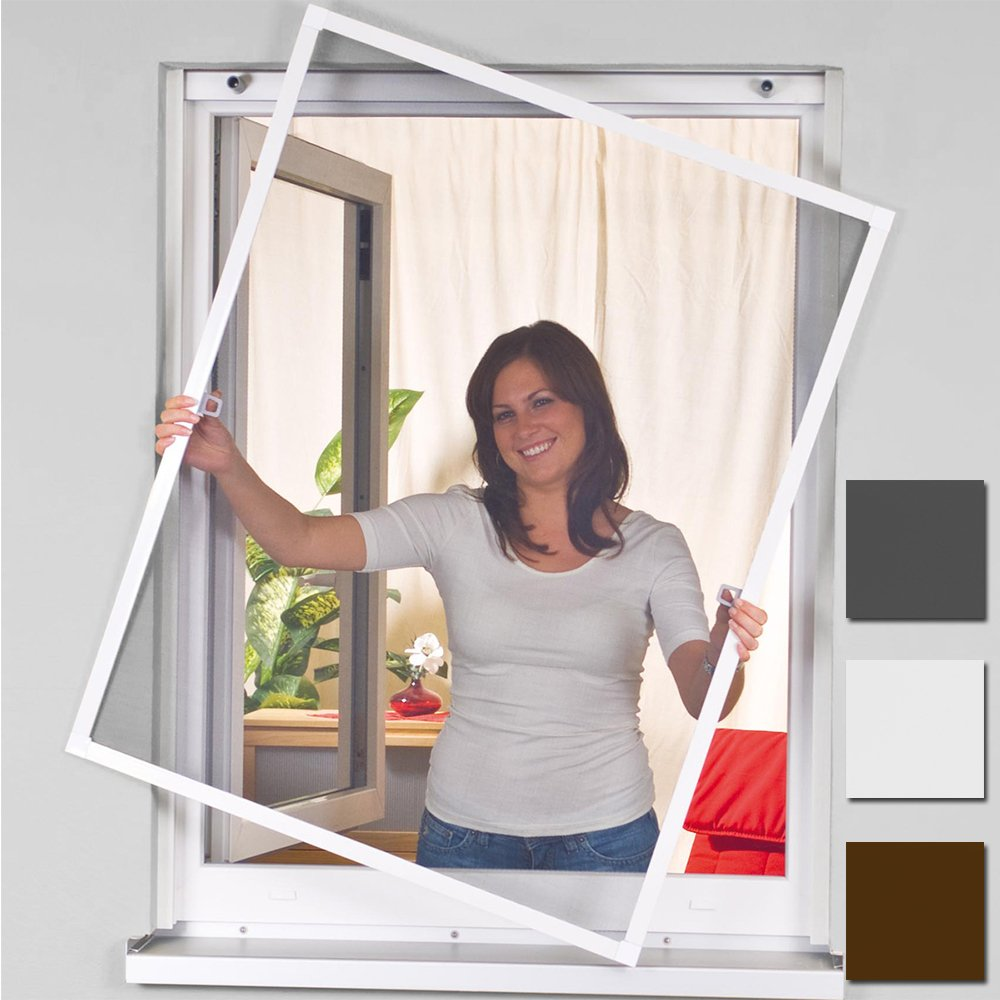 Easy Life Moustiquaire pour fenê tre avec encadrement en aluminium Blanc/marron 100 x 120 cm blanc Mako easylife