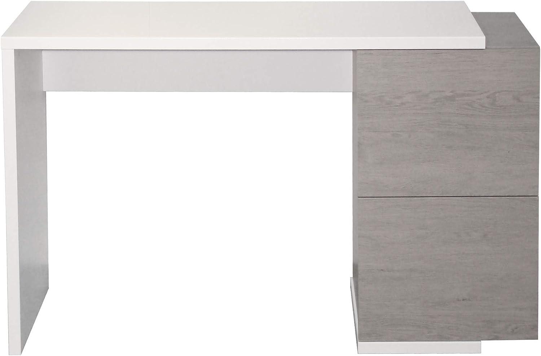 Berlioz Creations Tibur Console Bureau Panneaux de Particules 122 x 34 x 77 cm Ch/êne Cendr/é//Blanc Brillant