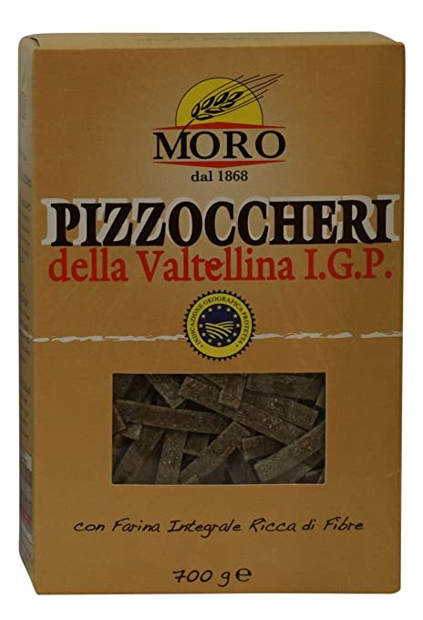 "Moro:""Pizzoccheri"" Pasta made with Durum Whole Wheat Buckwheat - stone ground 24.69 Ounce (700gr) Package [ Italian Import ]"
