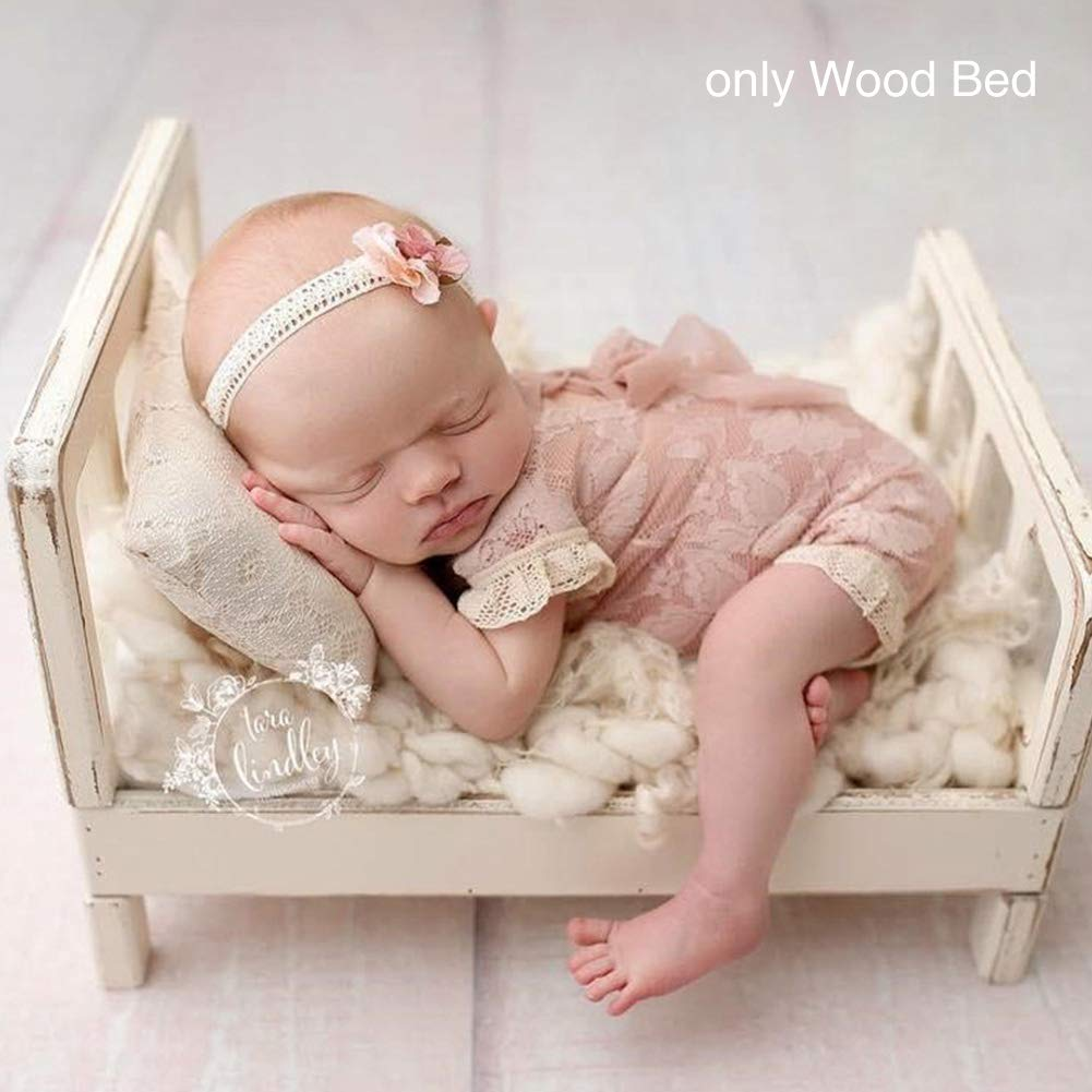 Newborn Props for Photography Wood Detachable Bed (Only The Bed) Baby Photography Background Accessories Flokati Newborn Studio Props for Shoot(16.5x11x8.5 inch)(White)