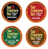 San Francisco Bay OneCup, Variety Pack, Single Serve Coffee K-Cup Pods (80 Count), French Roast - Fog Chaser - Rainforest - Breakfast Blend, Keurig Compatible
