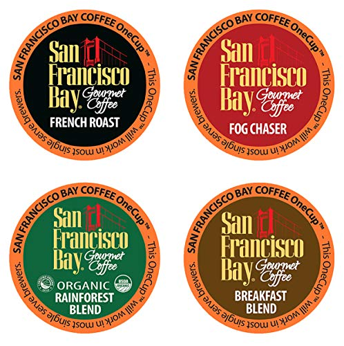 San Francisco Bay OneCup, Variety Pack, Single Serve Coffee K-Cup Pods (80 Count), French Roast - Fog Chaser - Rainforest - Breakfast Blend, Keurig Compatible ()
