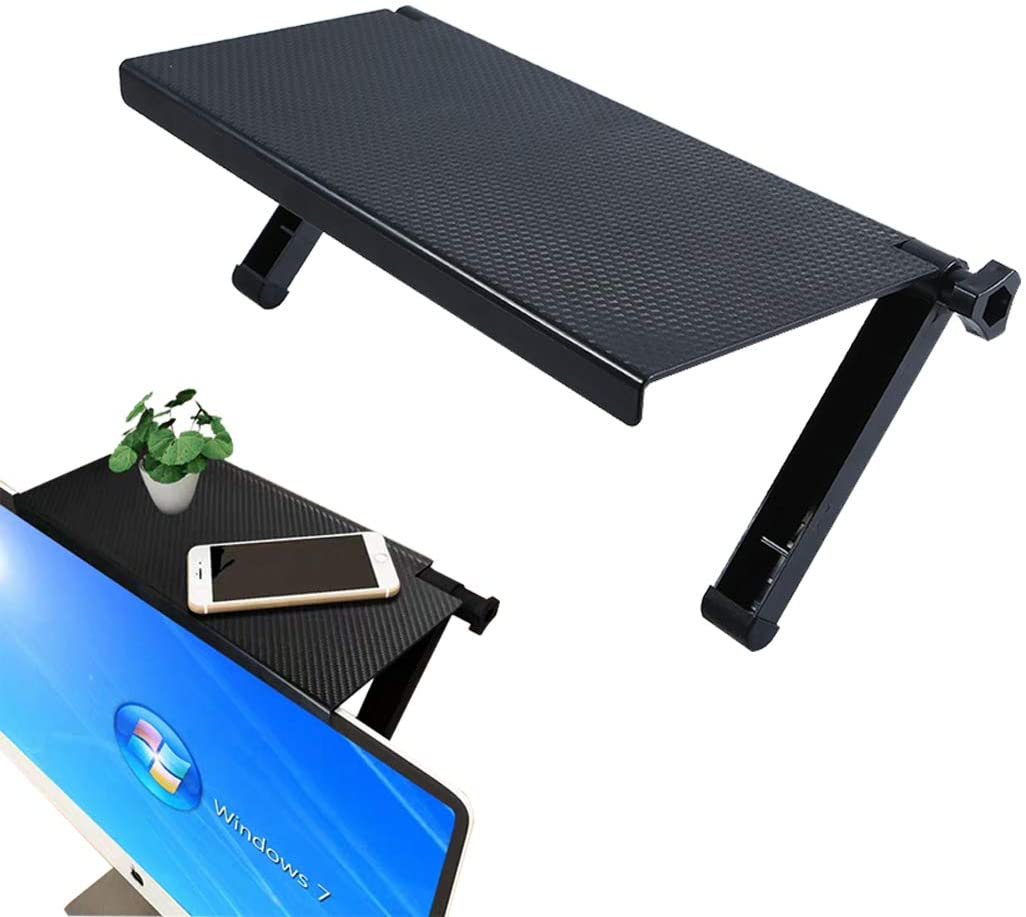 Computer Screen Shelf, TV Top Shelf, Screen Caddy Platform Solid Screen Shelf to Hold Cable Boxes, Camera, Streaming Devices, Media Boxes, Game Console,Router, Home Decor, Speakers, Black