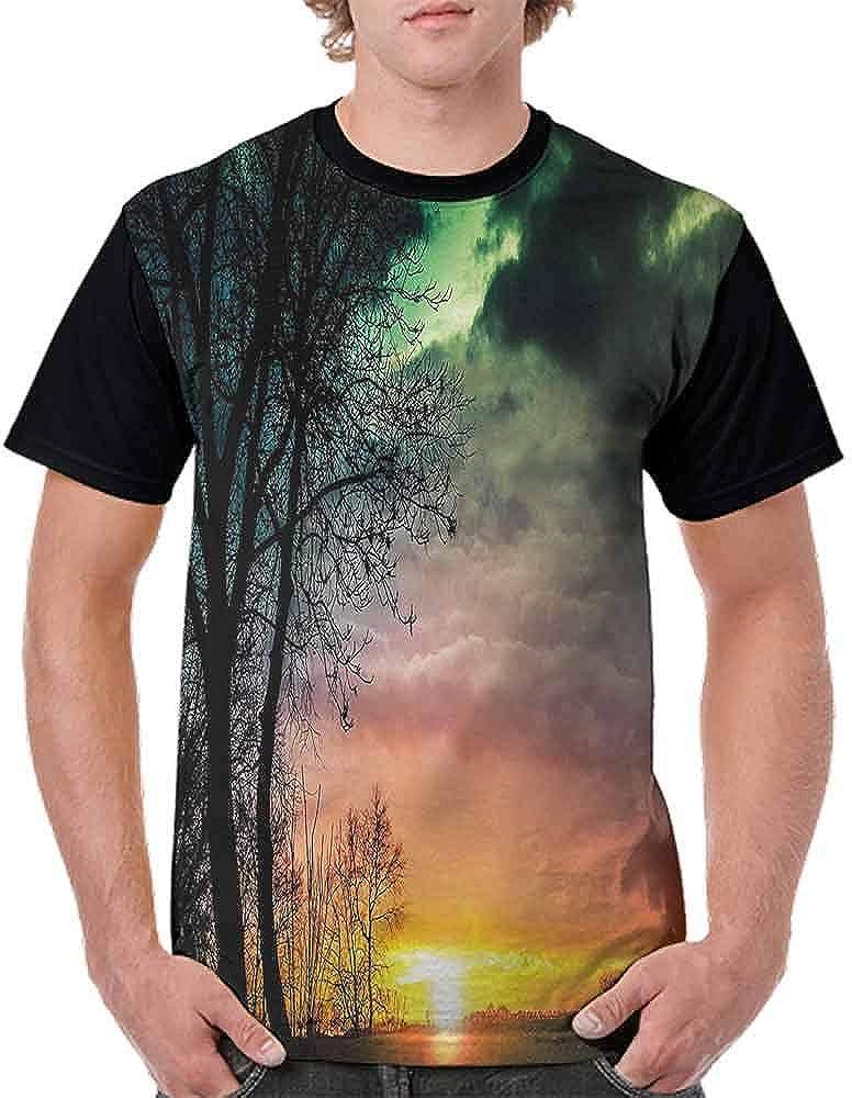 Cotton T-Shirt,Sunflower Garden Nature Fashion Personality Customization