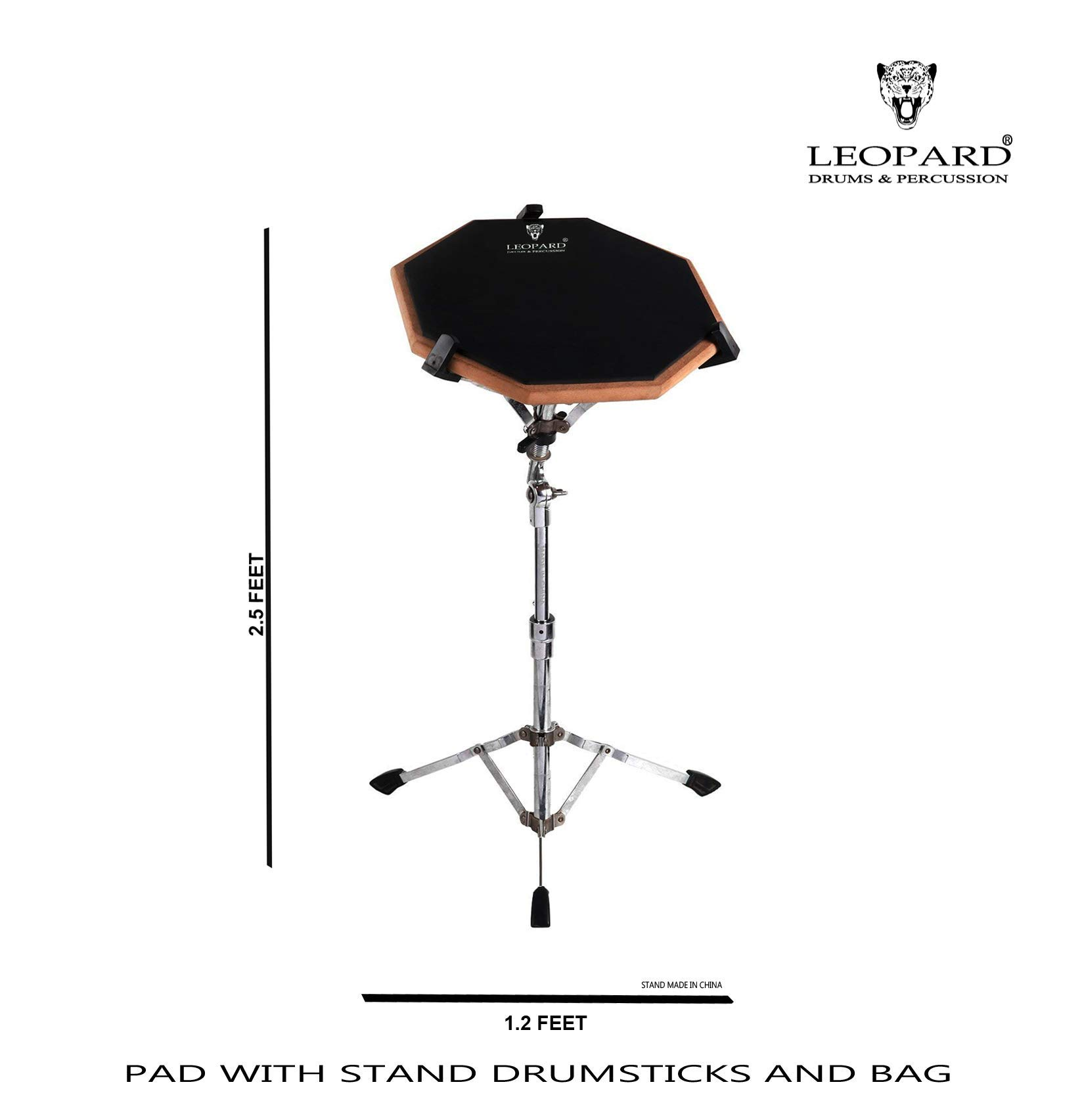 LEOPARD 2 SIDED DRUM PRACTICE PAD WITH STICKS AND BAG product image