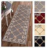 Patrician Trellis Grey Lattice Area Rug European French Formal Traditional Area Rug 2' x 7' Runner Easy Clean Stain Fade Resistant Shed Free Classic Contemporary Thick Soft Plush Living Dining Room