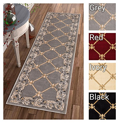 Patrician Trellis Grey Lattice Area Rug European French Formal Traditional Area Rug 3' x 12' Runner Easy Clean Stain Fade Resistant Shed Free Classic Contemporary Thick Soft Plush Living Dining Room (3ft Wide Runner)