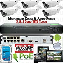 USG Sony DSP 6 Camera Motorized Lens Remote Zoom & Auto-Focus IP PoE Security System CCTV Kit * 6x 1080p 2mp 2.8-12mm Bullet Cameras + 1x 8 Channel 1080P PoE NVR + 1x 4TB HDD * FREE PHONE APP