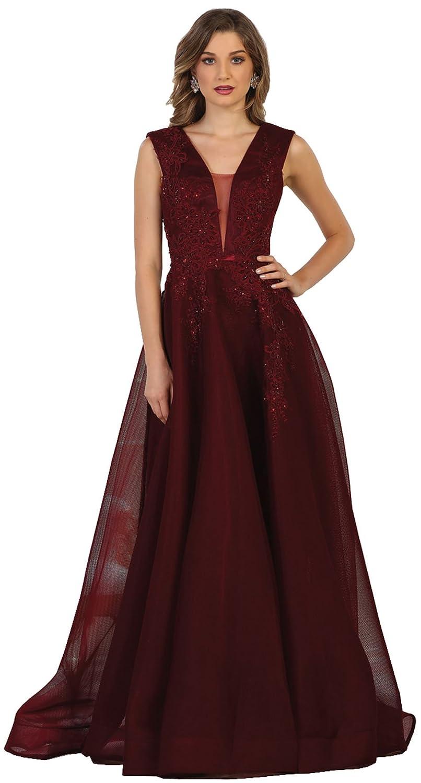 Burgundy Formal Dress Shops Inc Royal Queen RQ7606 Red Carpet Formal Designer Evening Gown