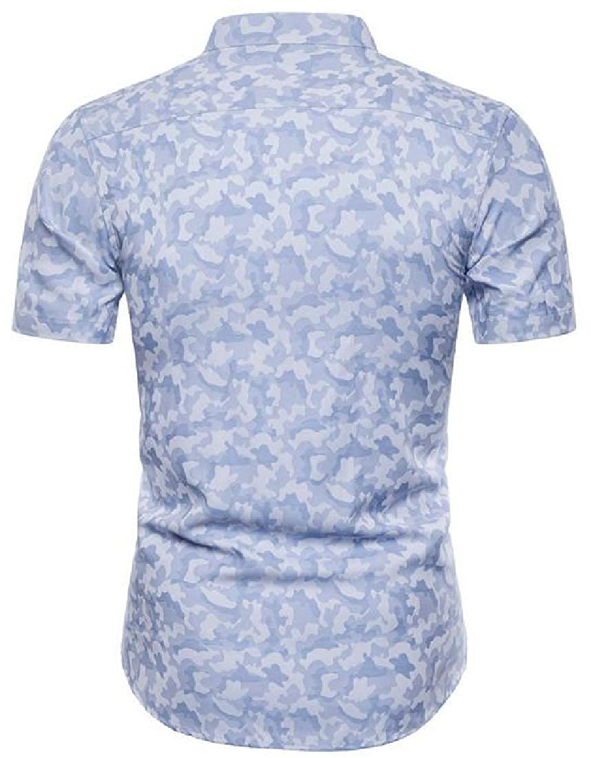 Hajotrawa Mens Camo Vintage Lapel Neck Curved Hem Jacquard Button Down Shirts