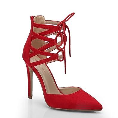 ff061a863f34 Ideal Shoes Escarpins à Lacets Effet Daim Palma Rouge 41  Amazon.fr ...