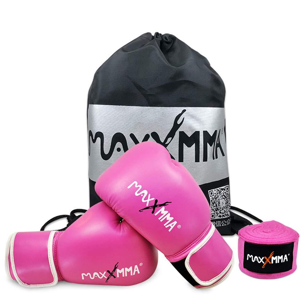 ボクシンググローブパンチングバッグスパーリングトレーニングミットキックボクシング男性と女性子供大人のMma ピンク 10oz