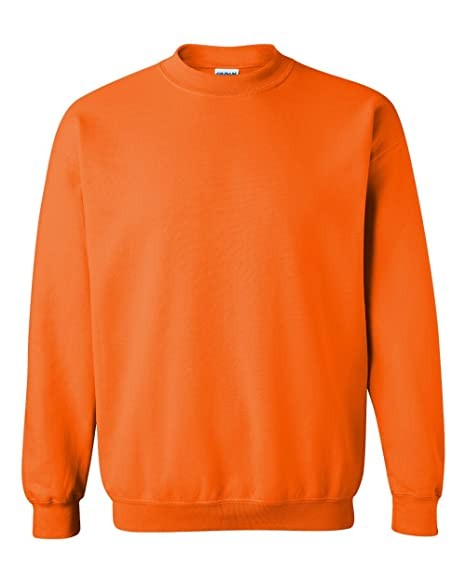 606e84df54878d Gildan Heavy Blend Crewneck Sweatshirt, Safety Orange at Amazon ...