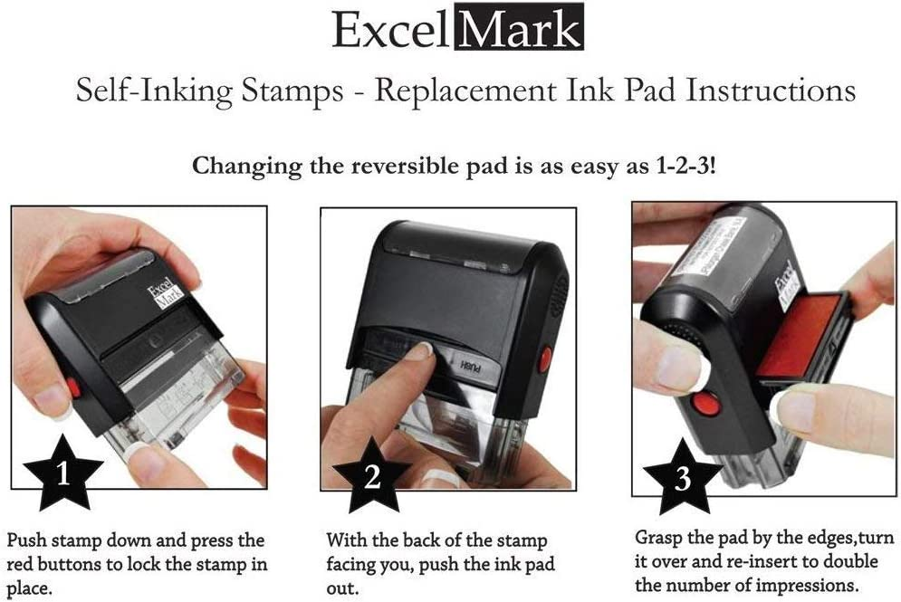 ExcelMark A1776 Self Inking Replacement Ink Pads Black