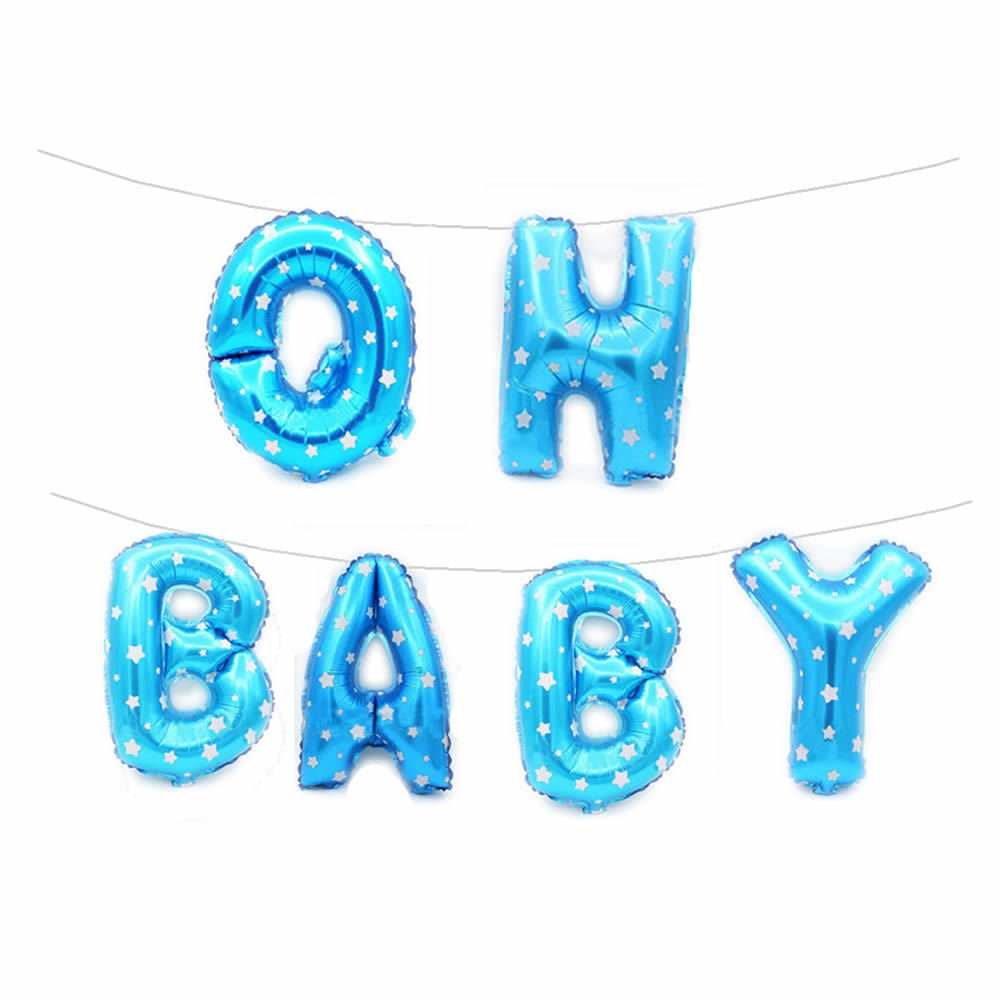 Rzctukltd Baby Shower Oh Baby It's a Boy/Girl 16 Foil Letter Balloon Party Banner +String (16 Baby Shower Blue Balloons Set)