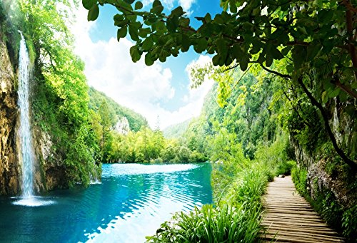 Baocicco Vinyl 8X6 5Ft High Waterfall Tourists Wooden Step Ladder Along The River Lake Backgroud Sunny Nature Mountains Attractions Landscape Wedding Bridal Photography