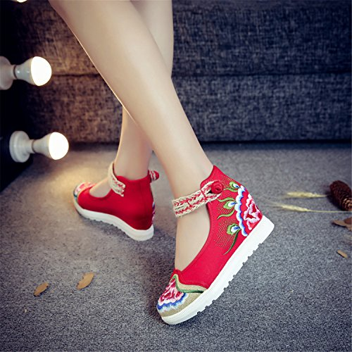 d75a614b69a66 good Qhome Women's Floral Peony Embroidery Ethnic Style Strappy ...