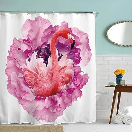 BROSHAN Fabric Bathroom Shower CurtainPink Flamingo Beautiful Flower Decor Kid Curtain For Girl