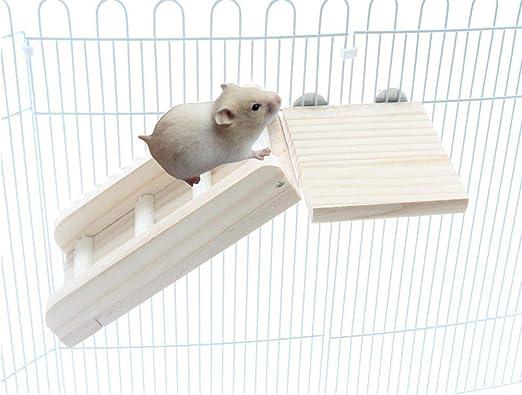 Emours - Juego de Mesa de Madera Natural para Refugio y Escalera de Plataforma Larga, Muebles para Mascotas pequeñas para Chinchilla hámster Ardilla: Amazon.es: Productos para mascotas
