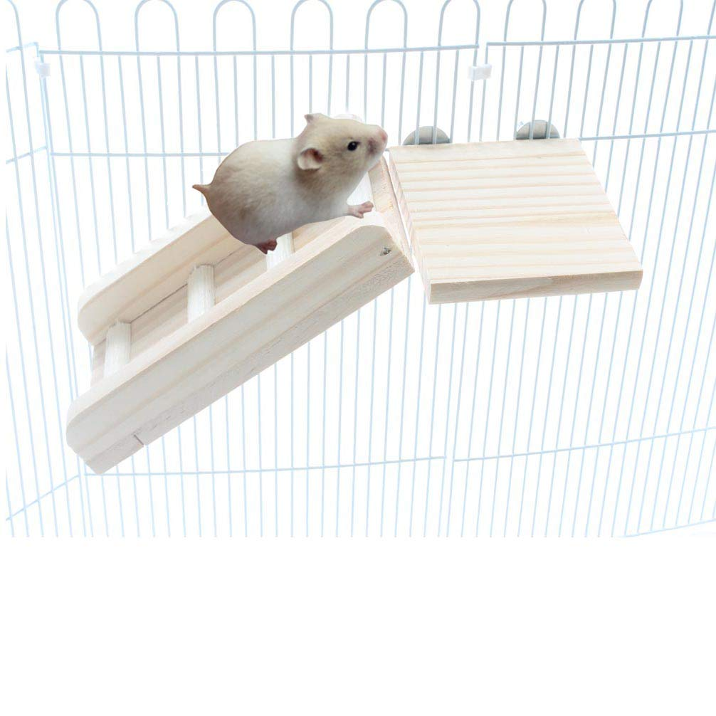 Emours Natural Wooden Living Shelter Stand Board and Long Platform Ladder Set Small Pet Furniture for Chinchilla Hamster Squirrel by Emours