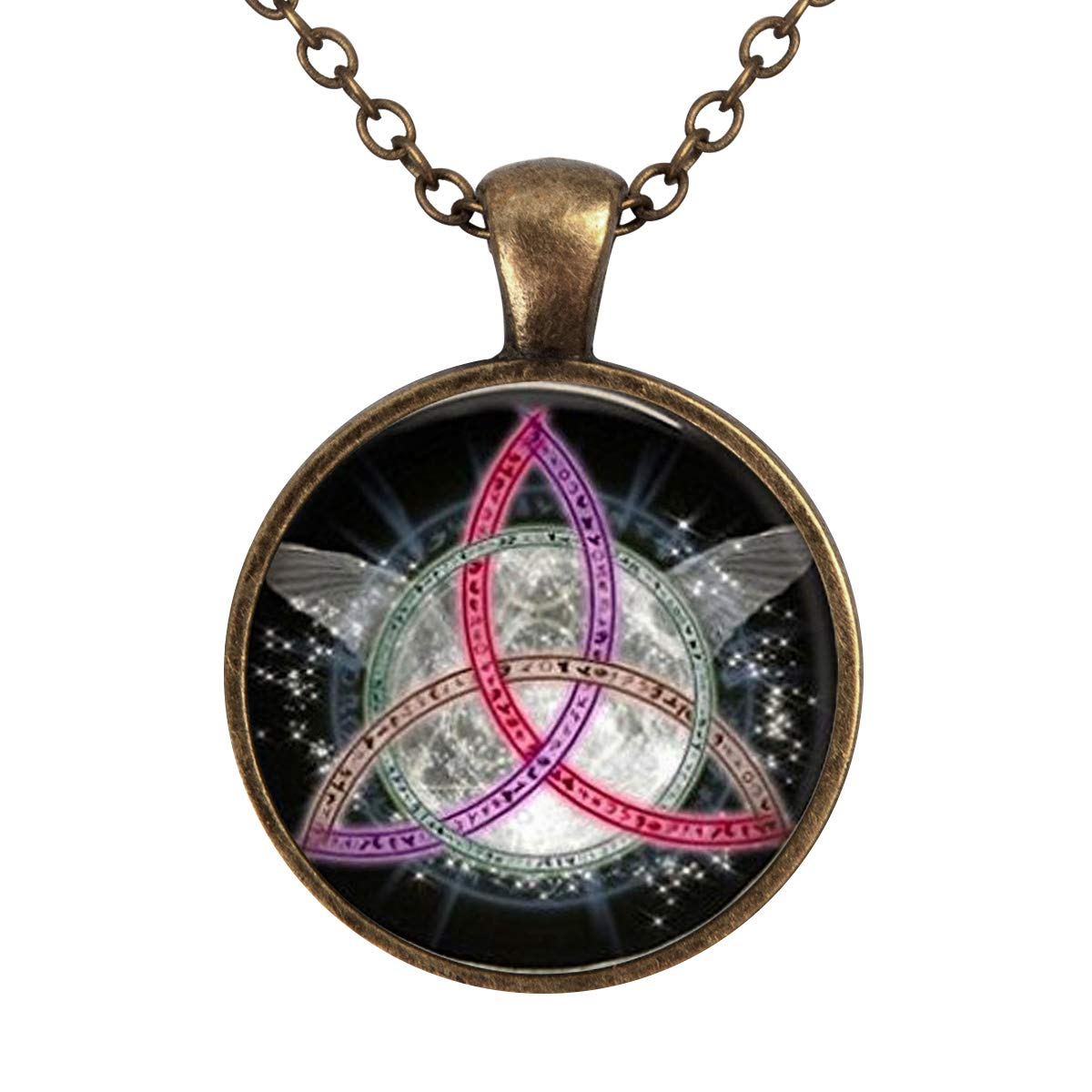 Lightrain Wicca Charms Pendant Necklace Vintage Bronze Chain Statement Necklace Handmade Jewelry Gifts