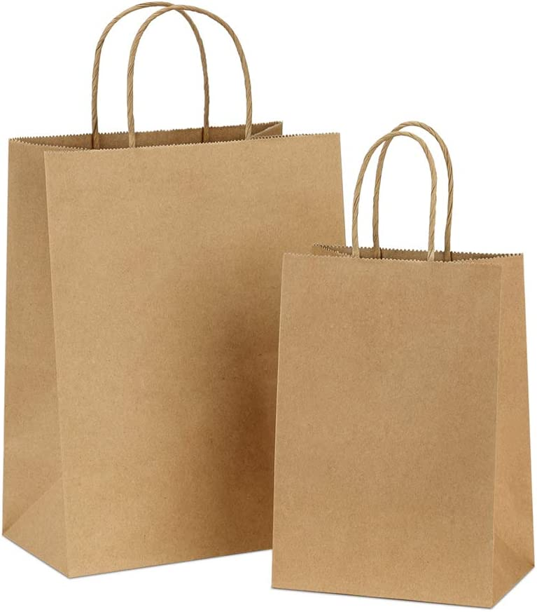 BagDream Kraft Paper Bags 5x3x8& 8x4.25x10, 50 Pcs Each, Paper Gift Bags with Handles Bulk, Kraft Bags, Shopping Bags, Craft Bags, Merchandise Bags, Party Bags, 100% Recyclable Brown Paper Bags