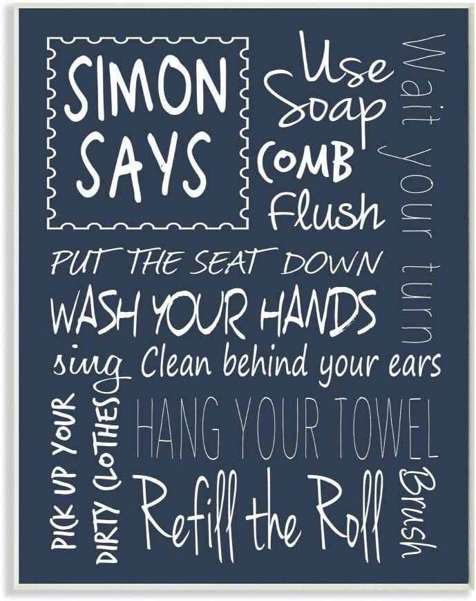 Stupell Home Décor Simon Says Bath Rules Chalkboard Bathroom Wall Plaque, 10 x 0.5 x 15, Proudly Made in USA