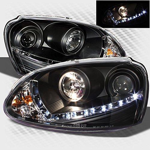Xtune HID Model 2006-2009 Golf GTI Jetta Rabbit LED Projector Headlights Black Head Lights Pair Left+Right 2007 2008 ()