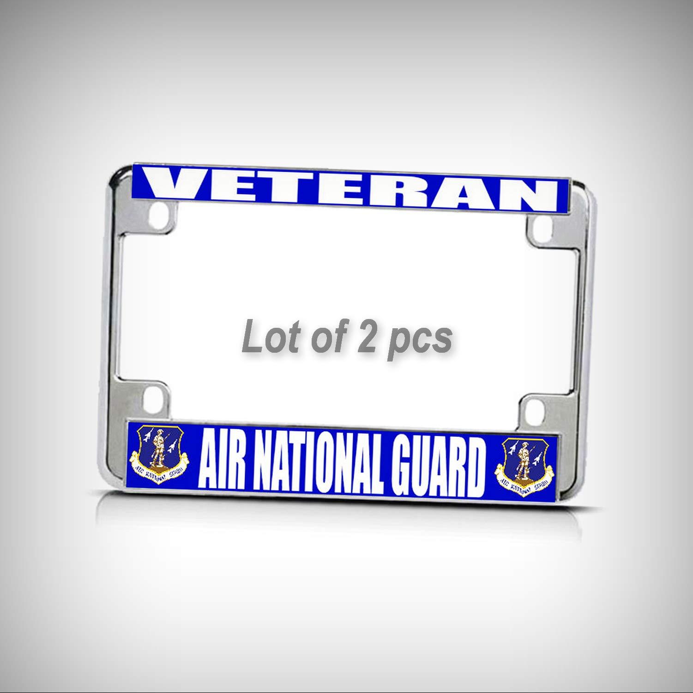 Set of 2 Pcs - AIR Force Veteran National Guard Chrome Metal Motorcycle Tag Holder License Plate Frame Decorative Border