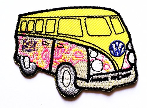 Economy Bus - Yellow camper van bus car hot rod hippie peace cartoon patch cartoon Kid Patch Logo Vest Jacket Hat Hoodie Backpack Patch Iron On Patch Sew Iron on Embroidered Symbol Badge Cloth Sign Costume