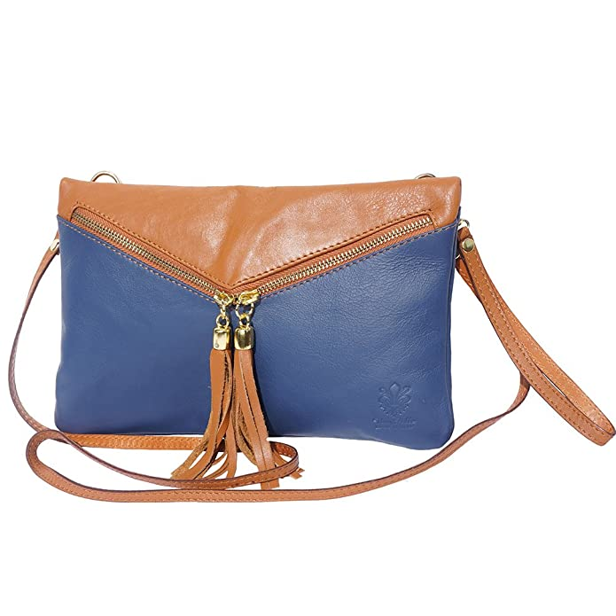PEQUEÑO cuero CLUTCH suave y WRISTELT 6127 (Azul marino-bronceado): Amazon.es: Zapatos y complementos