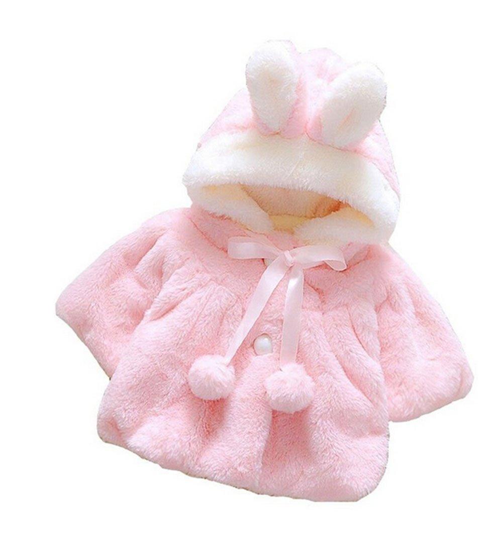 Butterme Baby Kids Infants Toddlers Soft Plush Winter Warm Hooded Cape Cute Princess Rabbit Ear Cloak Poncho Hoodie Coat Jacket Outerwear (Pink) ZUMUii ZUMU00001459