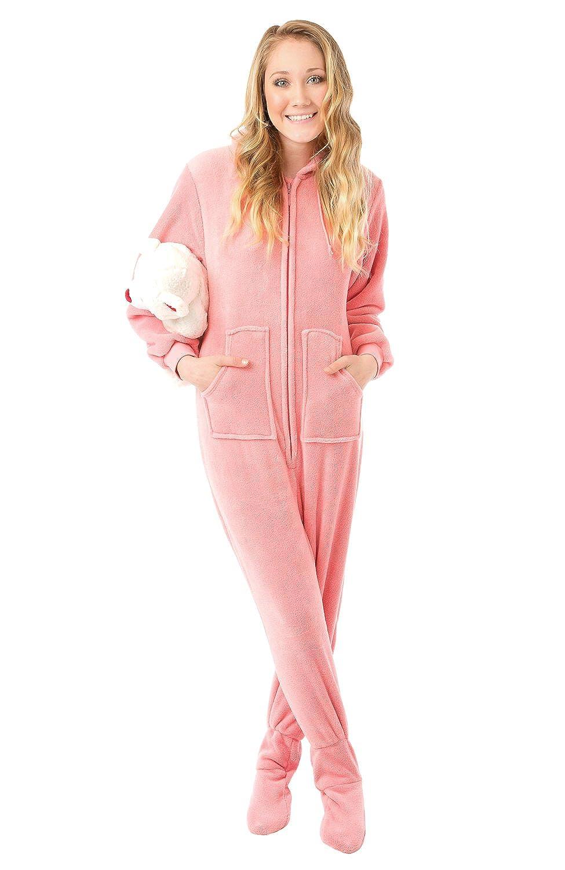Pink Plush Hoodie Footed Pyjamas with Bum Flap