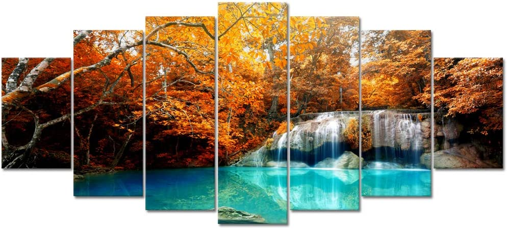 Visual Art Decor Canvas Wall Art Autumn Yellow Orange Trees Forest Blue Waterfall Lake Picture Prints Framed and Stretched for Modern Home Living Room Office Decoration (Large 7 Pieces)