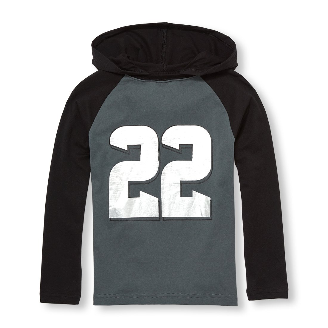 The Children's Place Big Boys' Long Sleeve Hooded T-Shirt, Gray Steel 5626, L (10/12)