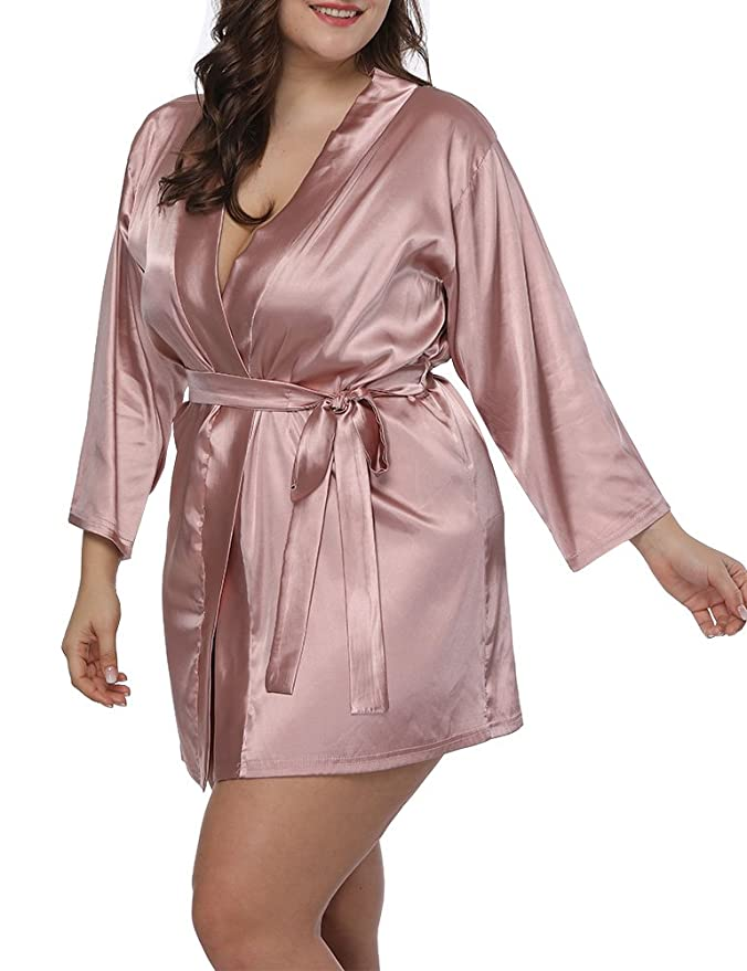 Women Plus Size Satin Wrap Front Kimono Robes Short Pajamas with Belt