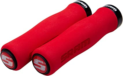 SRAM Locking Foam Contour Grips Red with Single Black Clamp and End Plugs