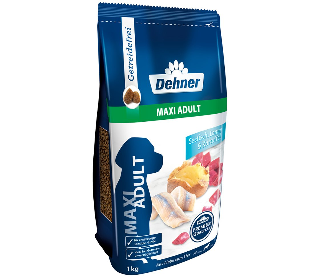 Dehner Premium Dry Dog Food Maxi Adult Salt Water Fish and Lamb with Potatoes – 12.5 kg