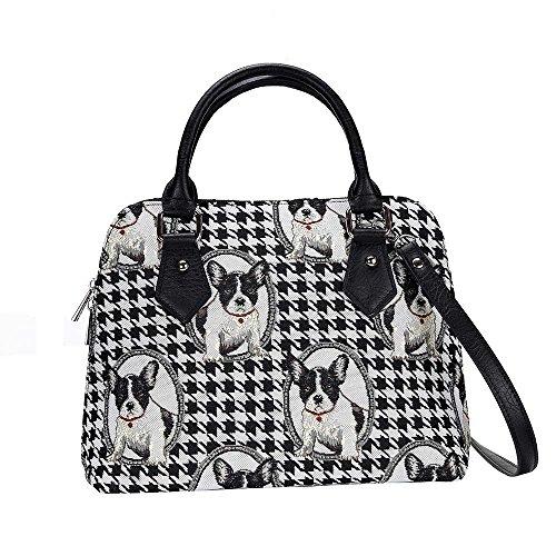 (Black and White French Bulldog Top-Handle Shoulder Bag by Signare/Designer Ladies Womens Evening Shoulder Side Tote/CONV-FREN)