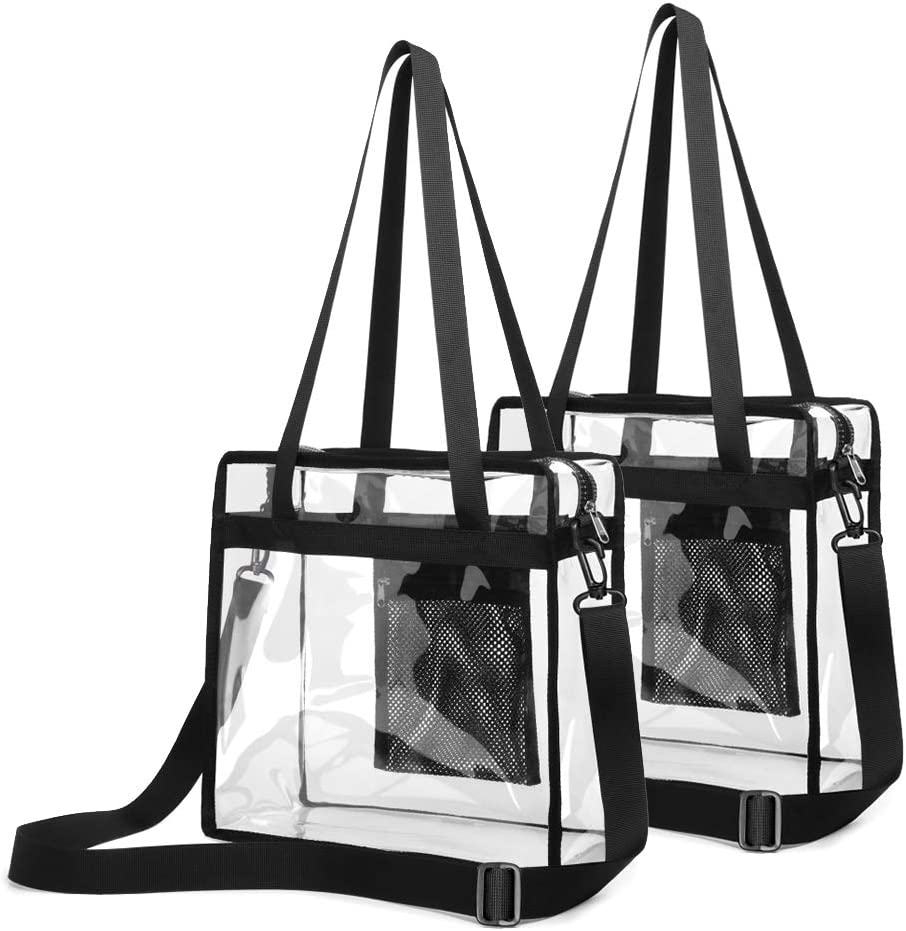 Clear Stadium Bag, Clear Bags NFL Stadium Approved 12 x 12 x 6, Heavy Duty Reusable Clear Crossbody Bag for Stadium, School, Sports Games, Concerts, 2 Pack