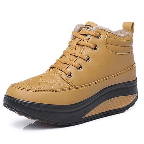 Moda para mujer Plataforma de cuero Zapatillas con cordones Zapatillas para caminar Gimnasio Calzado deportivo Calzado casual impermeable Calzado alto para ...