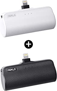 iWALK Mini Portable Charger for iPhone with Built in Cable, 3350mAh Compatible with iPhone 11 pro/Xs/XS Max/XR/X/8/7/6/Plus Airpods(2 Pack Black and White)