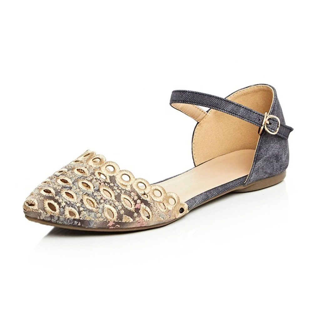 Damenschuhe 2018 New Spring Summer Comfort Sandale Runde Zehe Flache Ferse fuuml;r Buuml;ro im Freien Tauml;glich Blau Aprikose Grau  37 EU|B
