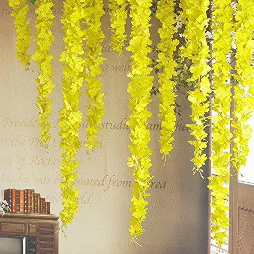 (30 Piece Artificial Flowers Silk Wisteria for Home Garden Outdoor Ceremony Wedding Arch Floral Decor Garland House Artificial Wisteria Vine Ratta Silk Hanging Flower)