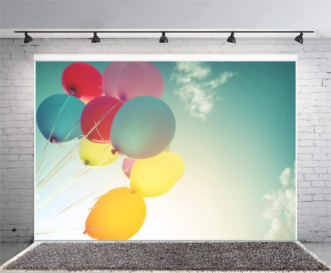 Blue Sky with Balloons Photography Background 7x5ft Yellow Blue Red Balloons Birthday Party Celebratio Decoration Wallpaper Sunndy Day Background