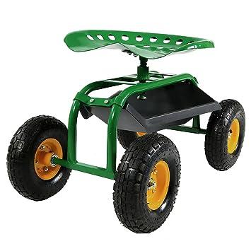Amazoncom Sunnydaze Green Rolling Garden Cart with 360 Degree
