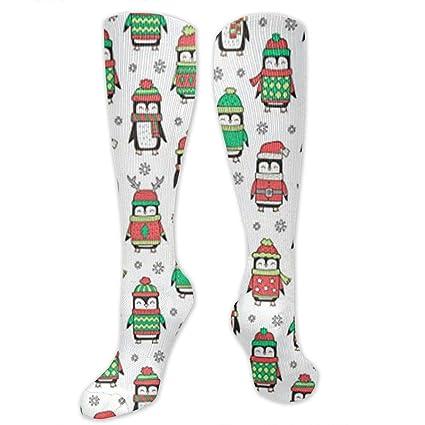 2833add7ee KIOT156 Christmas Holiday Winter Penguins Compression Socks Knee High Socks  Training Socks Soccer Socks for Men