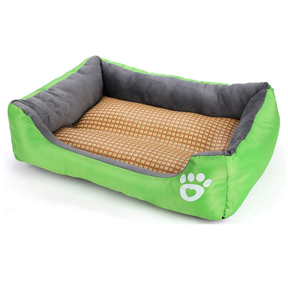 Green M Green M Pet New Summer with a mat Footprints Candy color Square Dog Kennel Velveteen Pussy mat pet Supplies Teddy golden Retriever Removable Washable Four Seasons Universal Warm Pet Waterloo
