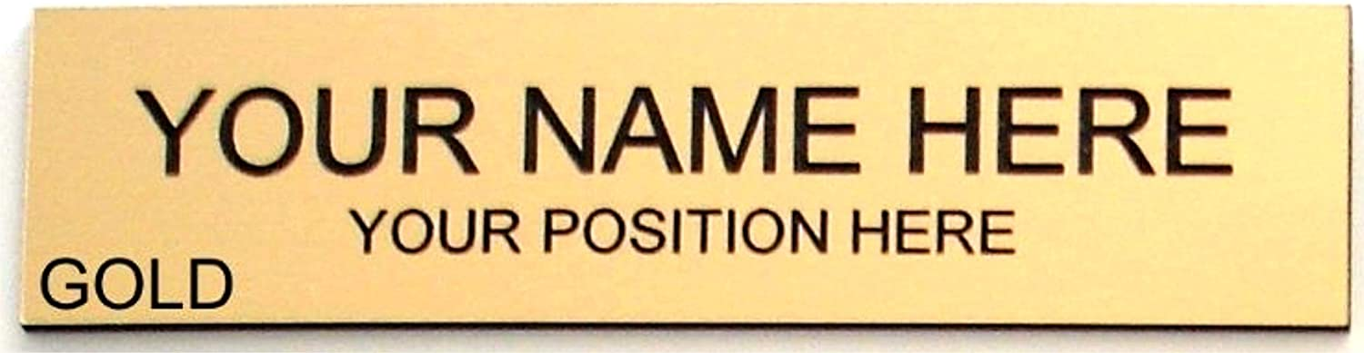 Office Desk Name Plate or Door Sign 2x8 - Laser Engraved Signage Material - Gold or Choose - Customize